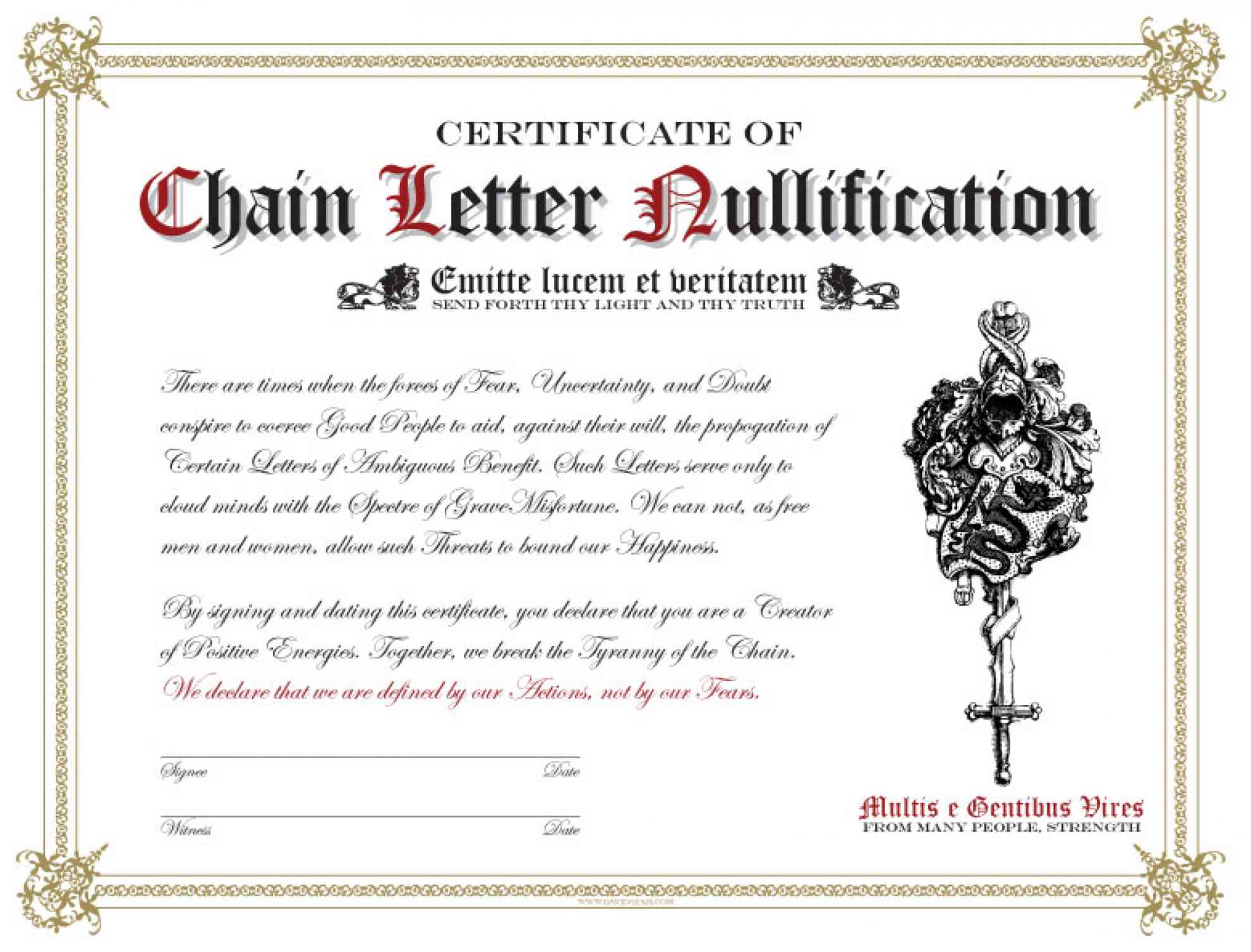 The Certificate of Chain Letter Nullification