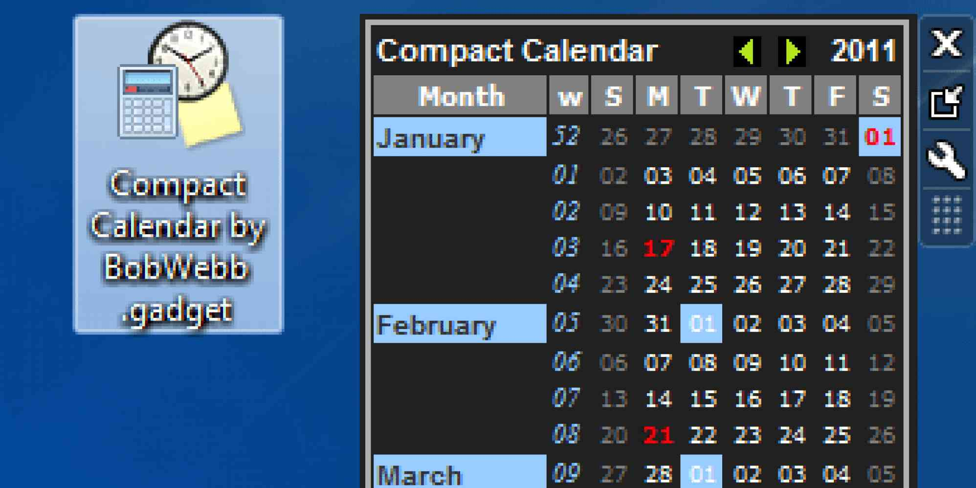 """Compact Calendar Gadget for Windows 7"""