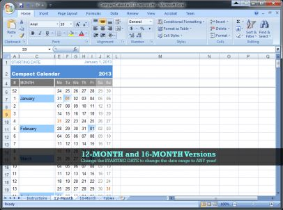 12-month calendar in Excel 2007