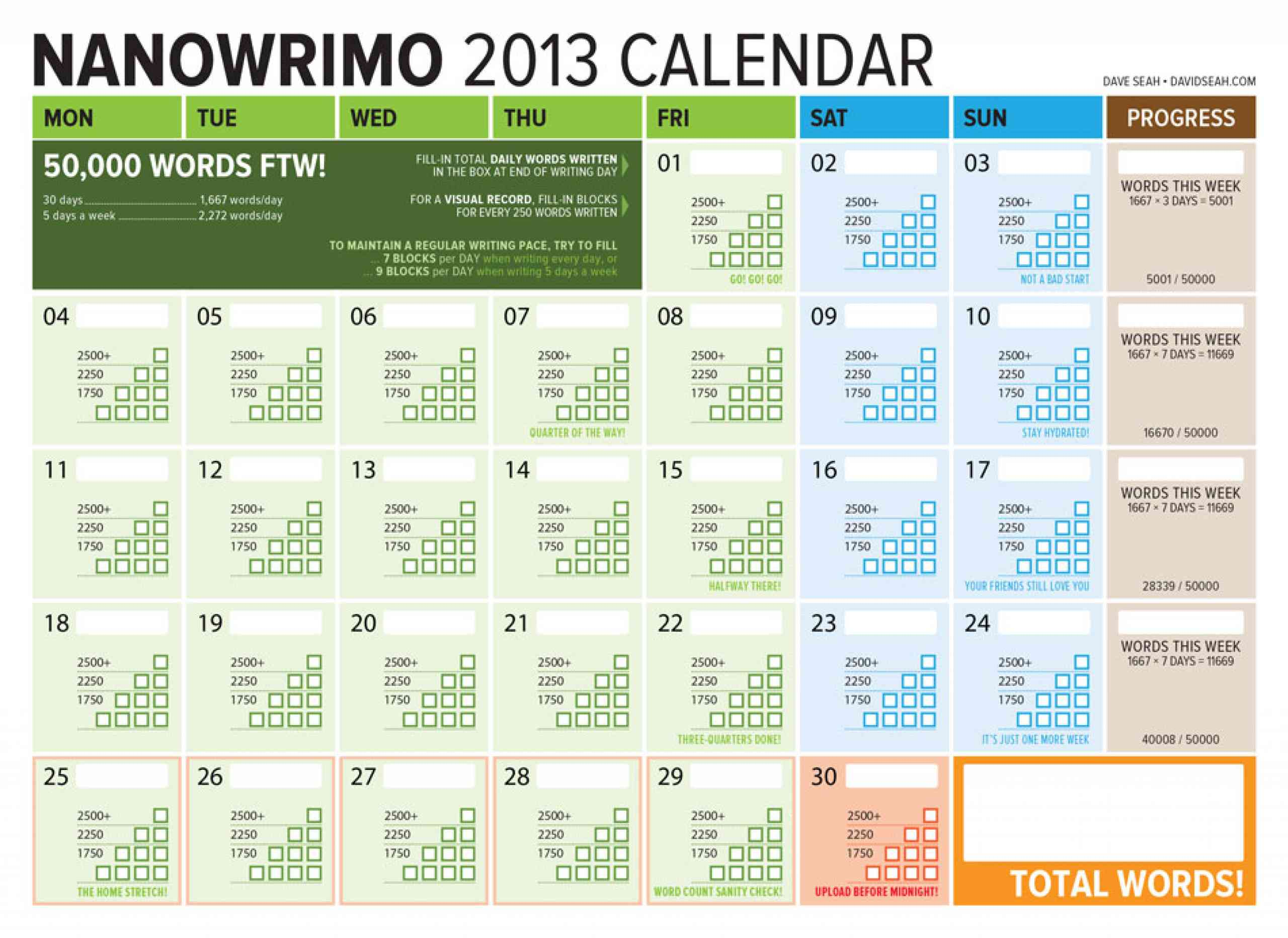 Here's my Tracking Word Count Calendar for November NaNoWriMo 2013