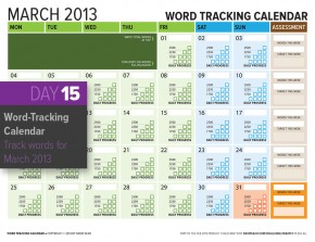 Word Counting Calendar March 2013