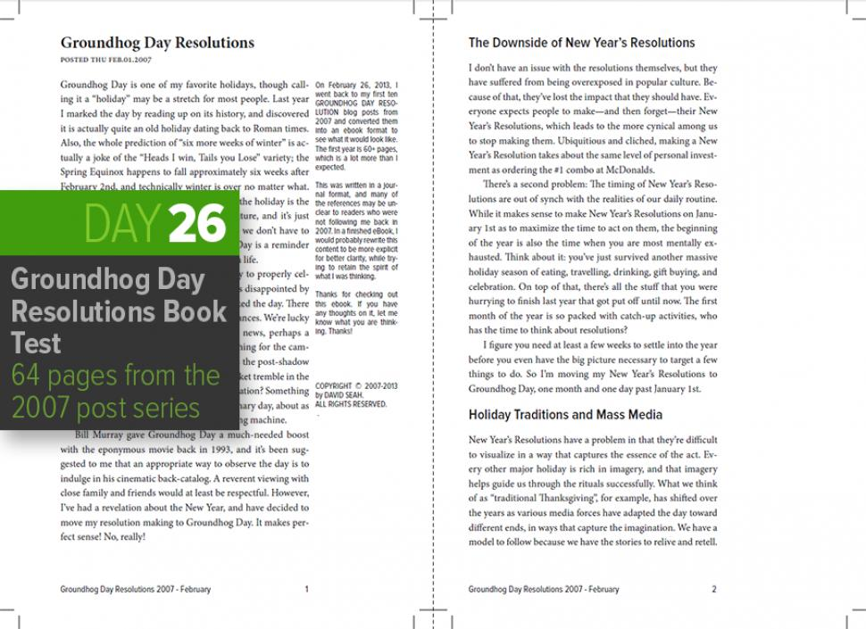 Groundhog Day Resolutions Book