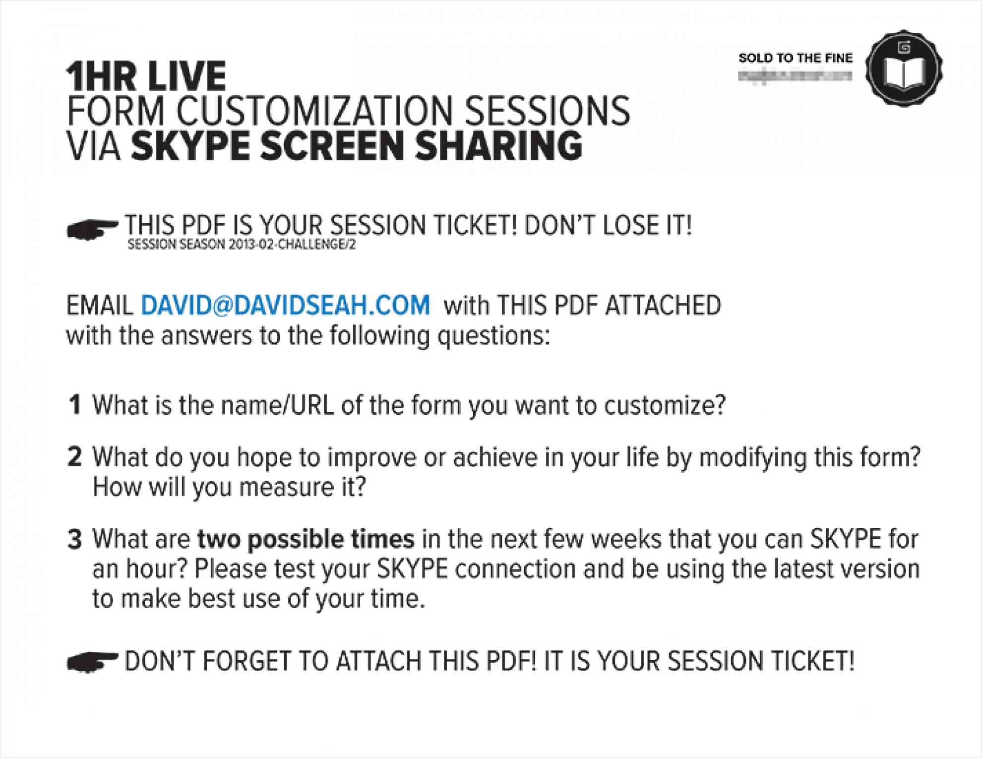 Live Design Session Ticket