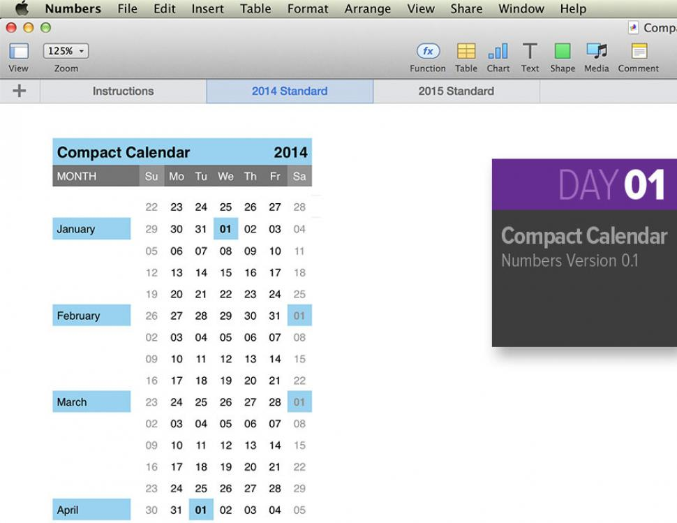 Numbers Compact Calendar