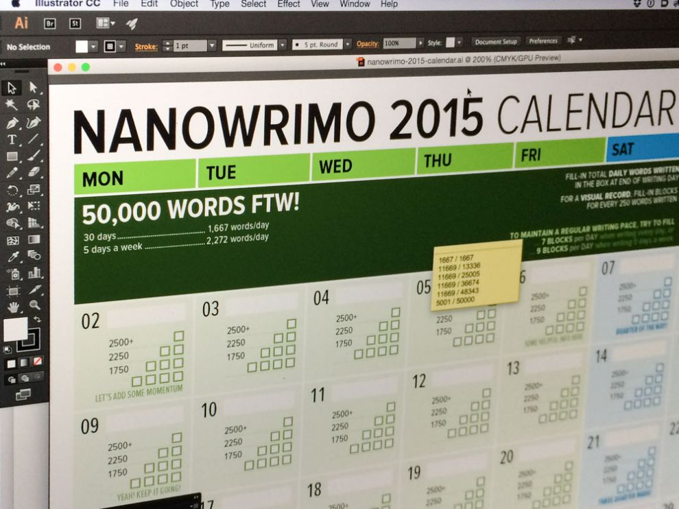 Here's my Tracking Word Count Calendar for November NaNoWriMo 2015