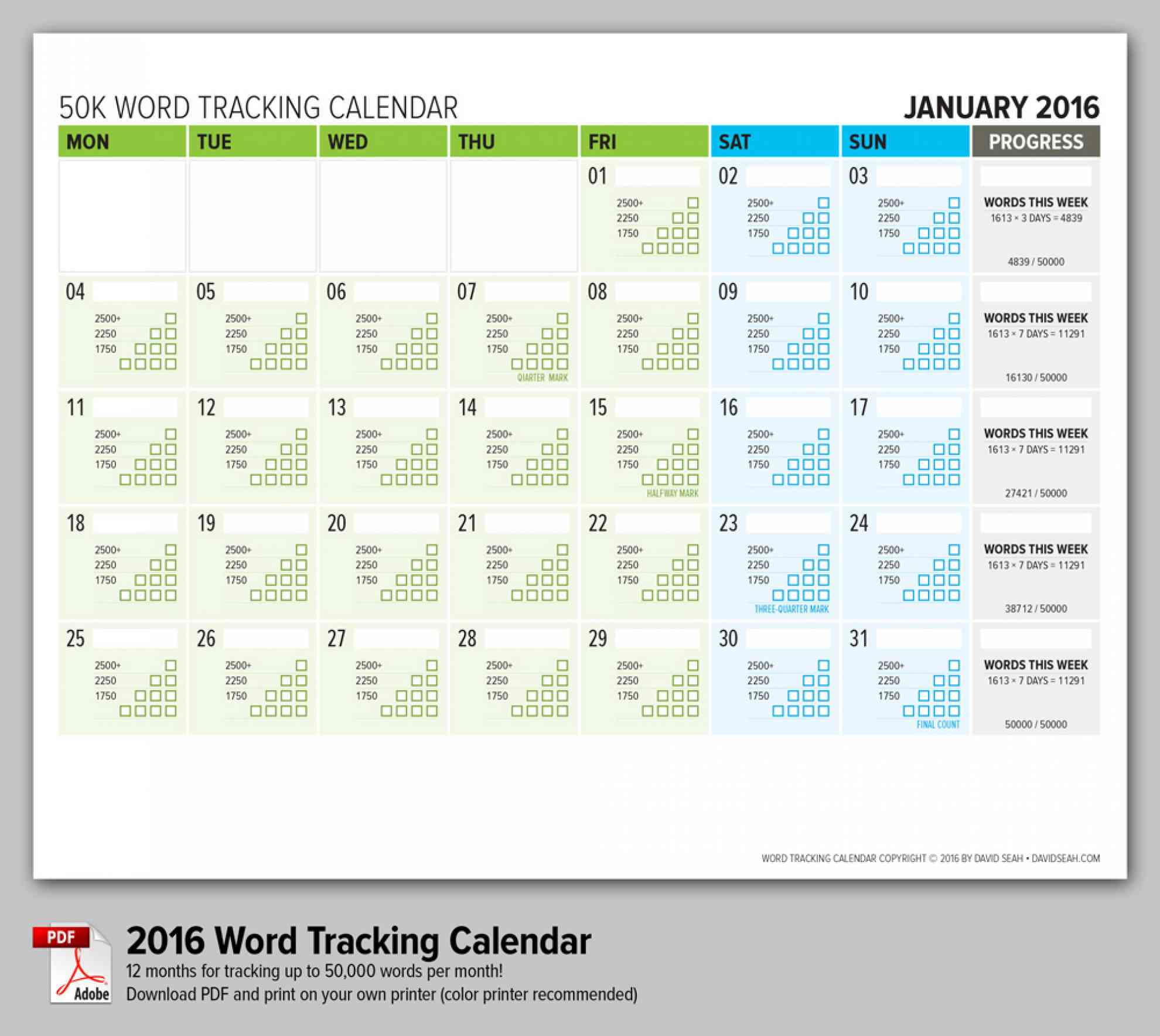 Word Counting Calendar
