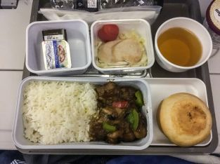 Cathay Pacific CX812 first meal