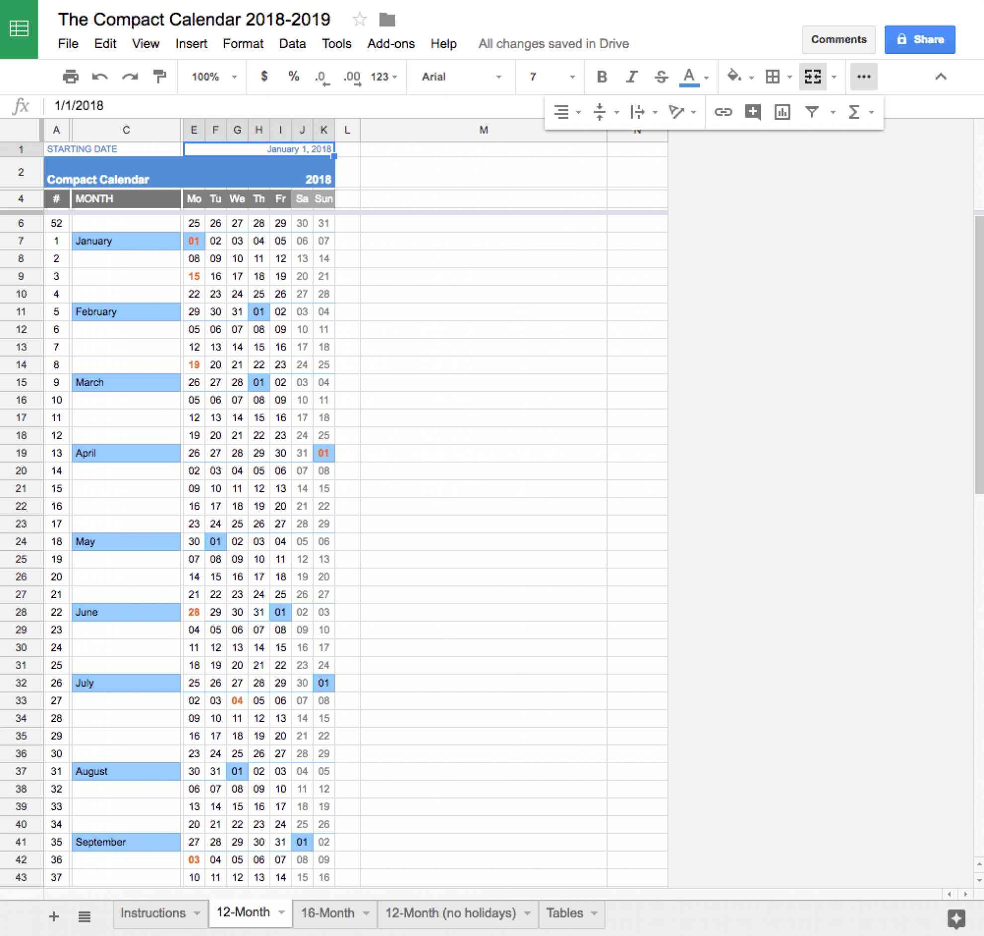 CompactCalendarforGoogleSheets