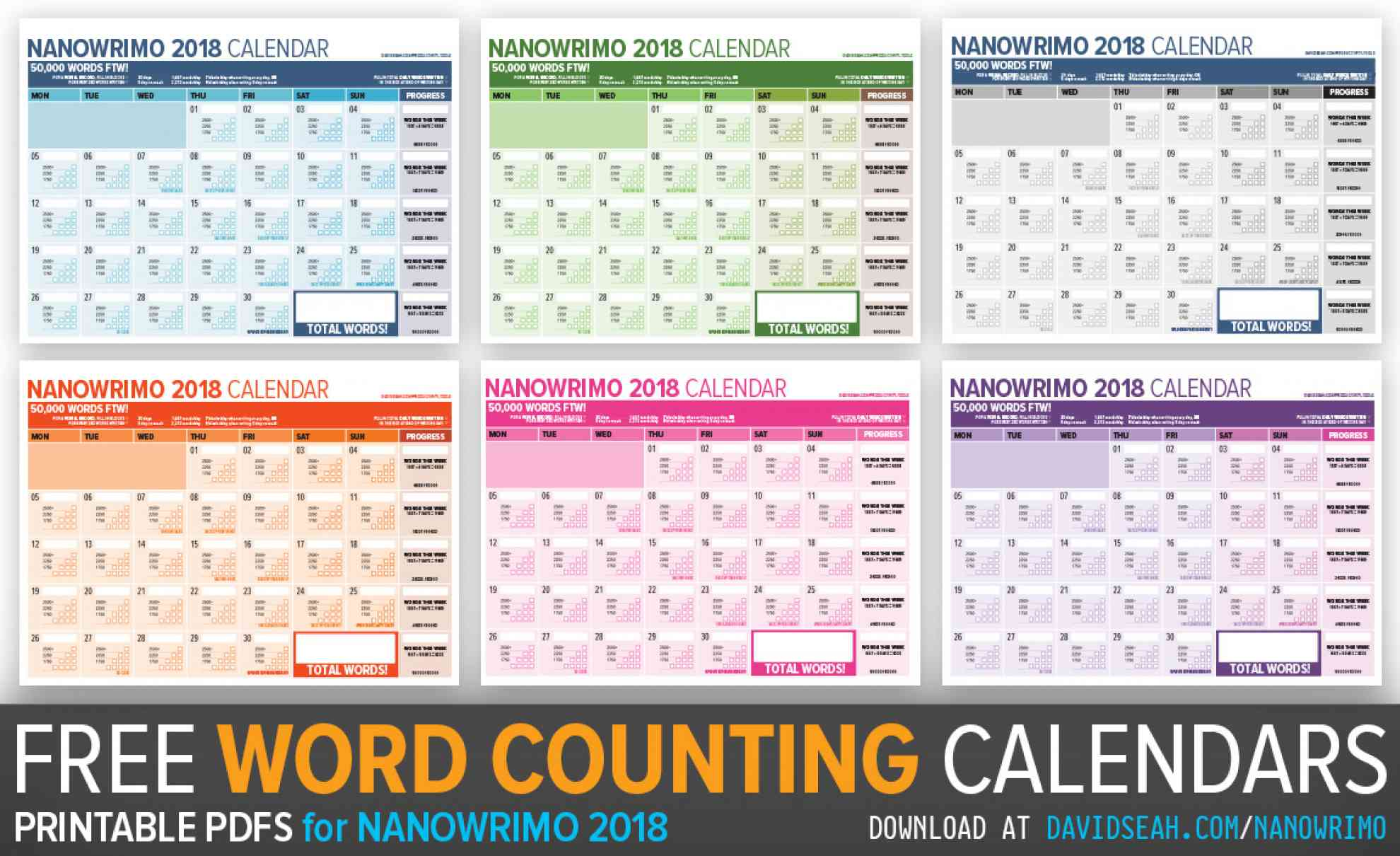 2018 Word Counting Calendar for Tracking Nanowrimo Progress