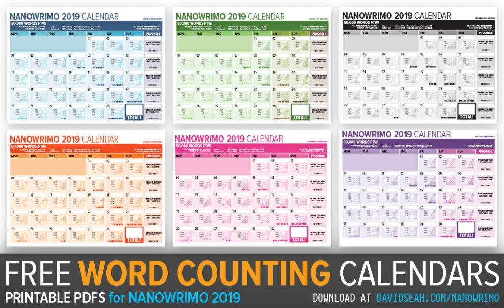 2019 Word Counting Calendar for Tracking Nanowrimo Progress
