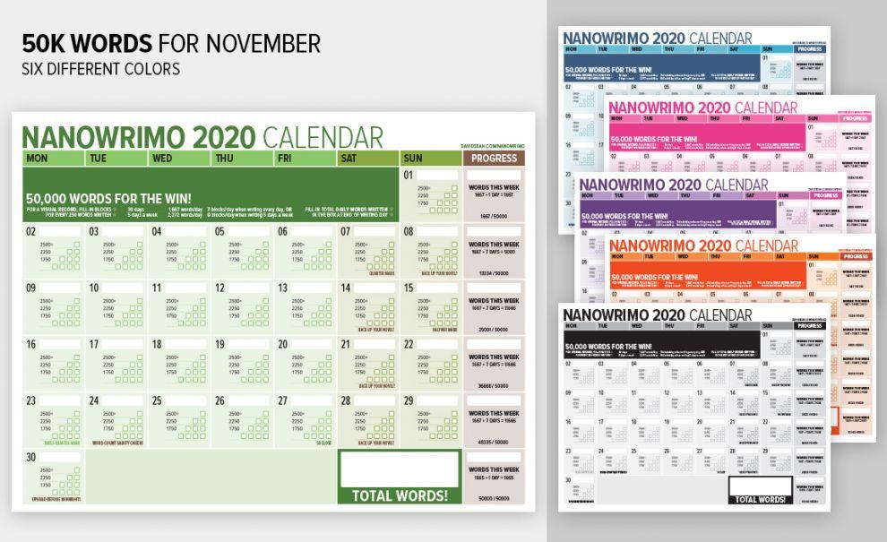 2020WordCountingCalendarforTrackingNanowrimoProgress