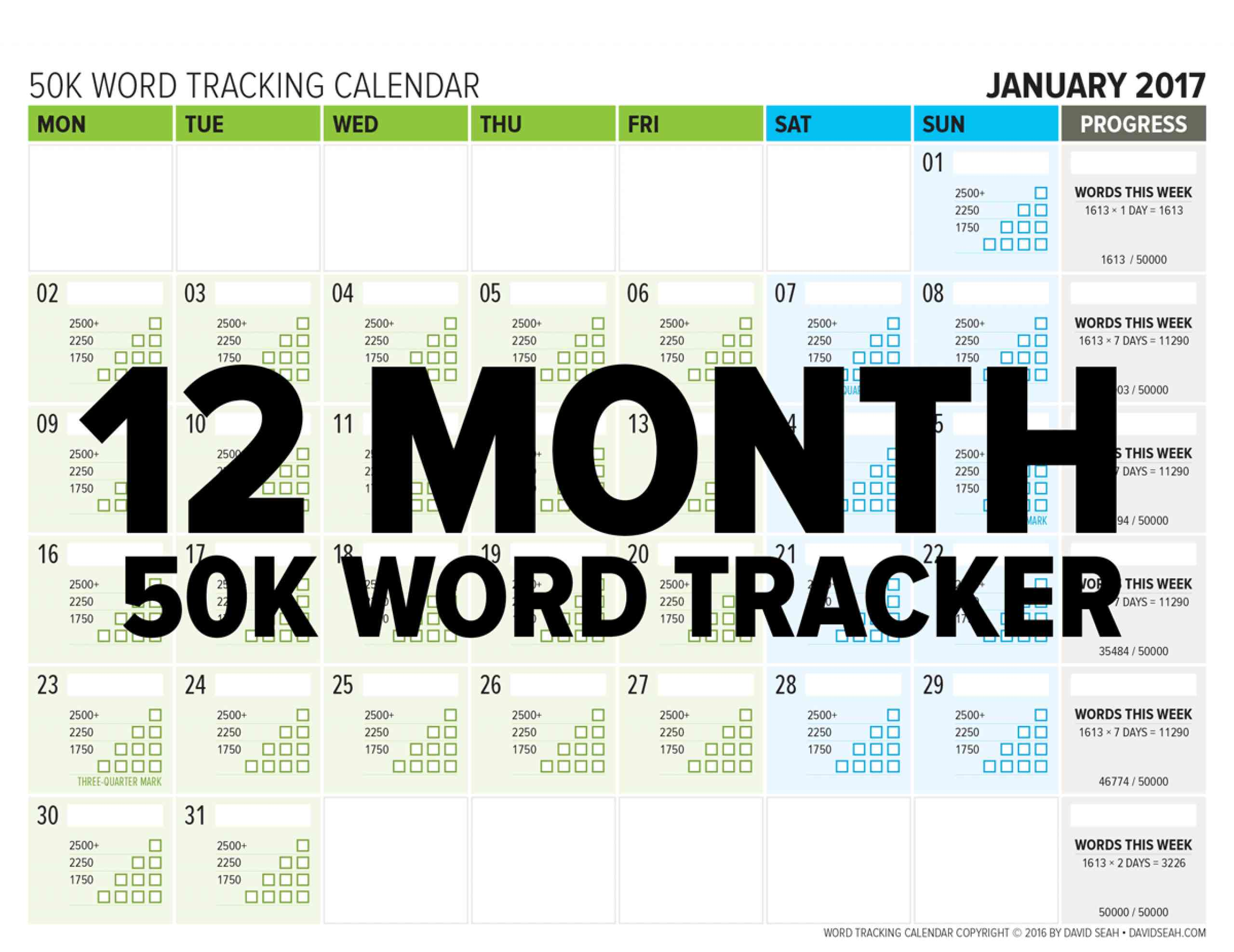 12 Month Word Tracking Calendar