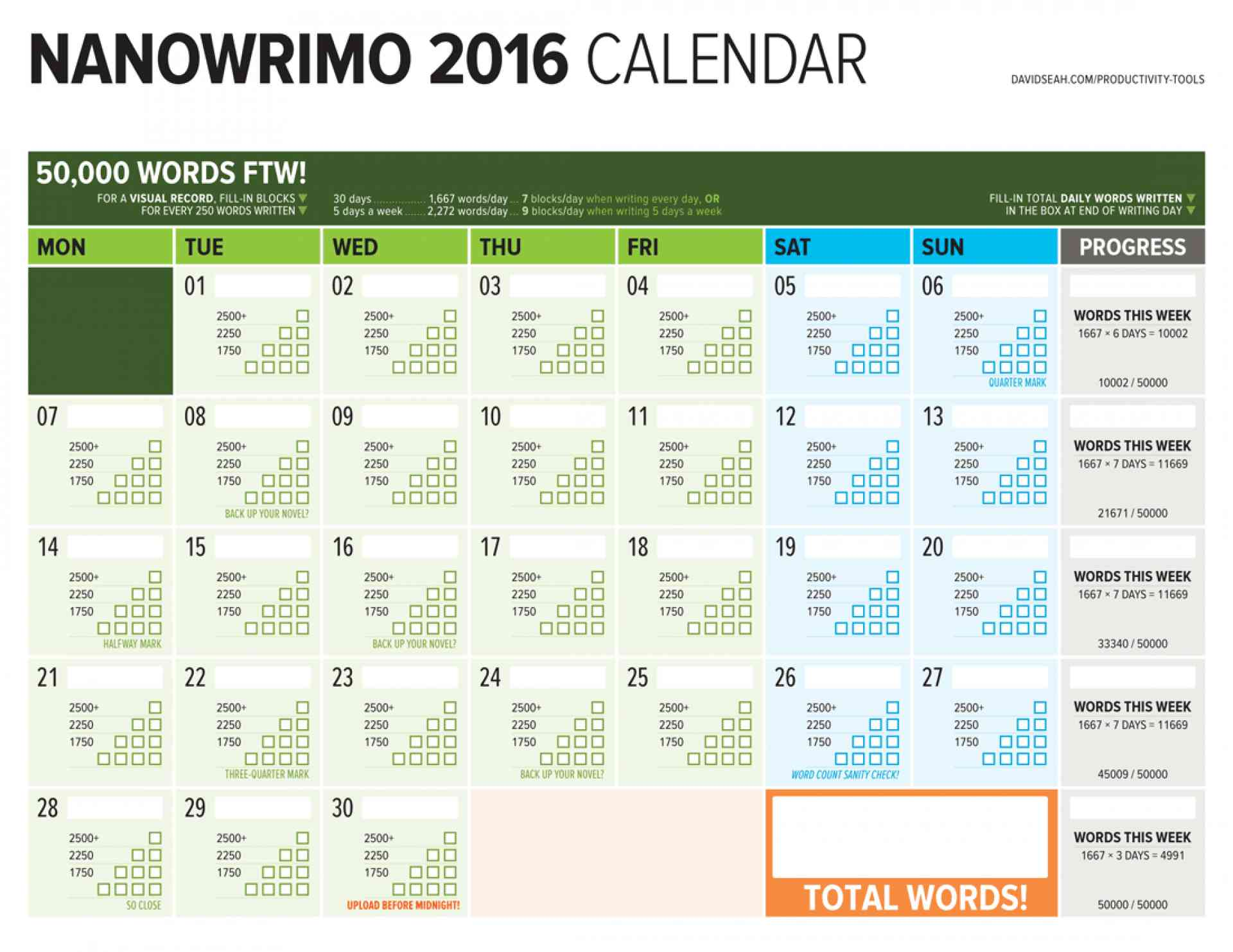 National Novel Writing Month Calendar 2016