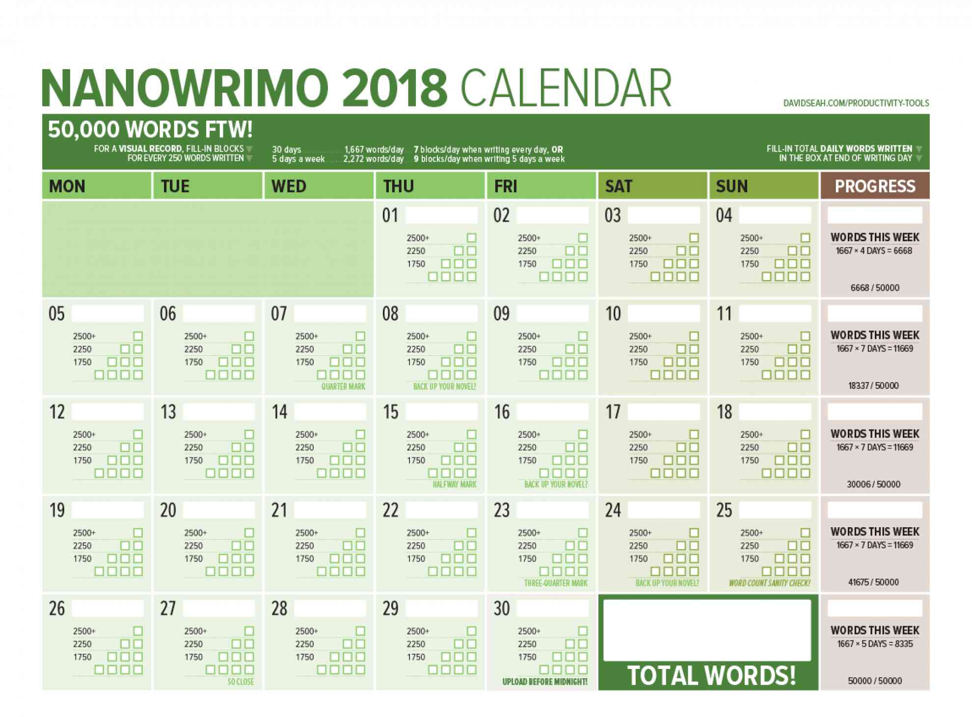 NaNoWriMo 2018 Word Counting Calendar by Dave Seah