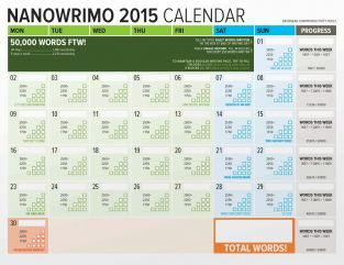 Word Counting Calendar Nanowrimo