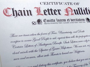 A Printable Certificate for Breaking Chain Letters