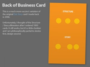 Quickie Business Card Design 8: Return of Dot Story