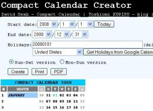 Yoshiomi KURISU's Compact Calendar Generator