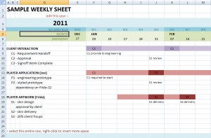 Weekly Version of Gantt-style Excel Graph Paper