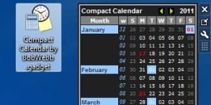 Compact Calendar Gadget for Windows 7 by Bob Webb