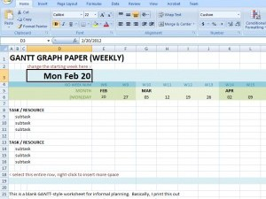 Weekly version of gantt style excel graph paper dave seah update to weekly gantt excel spreadsheet ccuart Image collections