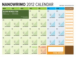 NaNoWriMo 2012 Word Count Tracking Calendar