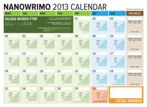 NaNoWriMo 2013 November Word Counting Calendar