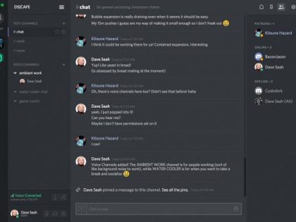 Ambient Coworking Chat on Discord