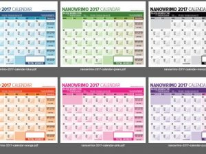 NaNoWriMo 2017 Word Counting Calendar Released