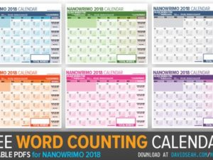 Updated Nanowrimo 2018 Word Counting Calendar for November!