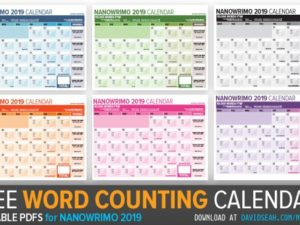 Nanowrimo 2019 Word Tracking Calendar for November!
