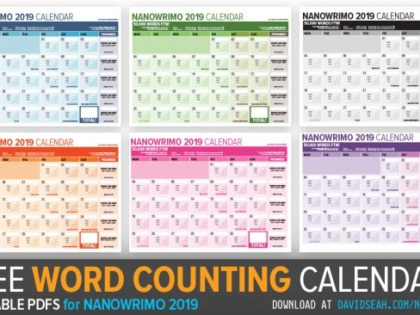 Nanowrimo 2019 Word Tracking Calendar for November!