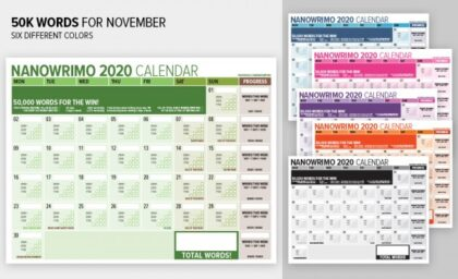 Visual Word Counting Calendar for NaNoWriMo 2020