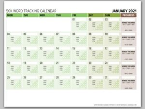 2021 Word Counting Calendar