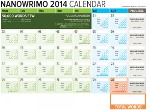 Nanowrimo 2014 Word Counting Calendar Available!