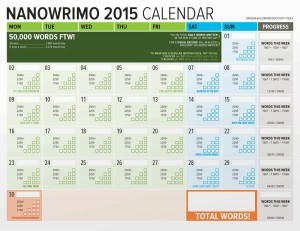 NaNoWriMo 2015 Word Counting Calendar