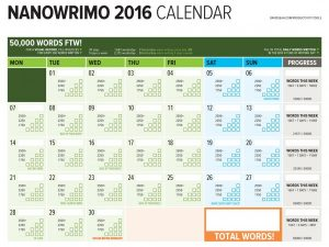NaNoWriMo 2016 Word Counting Calendar Released
