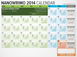 NaNoWriMo 2014 Word Counting Calendar