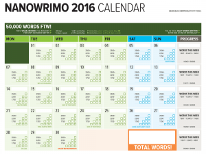 NaNoWriMo 2017 Word Counting Calendar